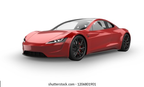 Electric Sports Car 3D Rendering Isolated on White