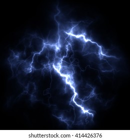 Electric storm. A bright flash of lightning closeup. A high resolution.