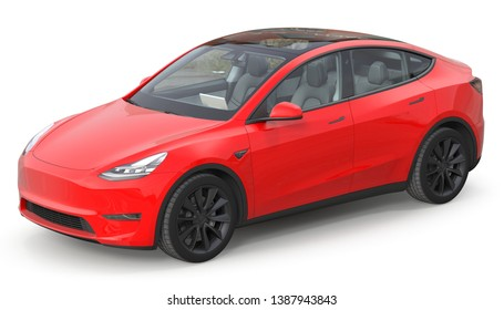 Electric suv car. 3d isolated on white