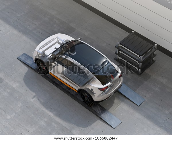 Electric SUV car exchange battery in battery swapping station. Fast battery exchange solution.  3D rendering image.