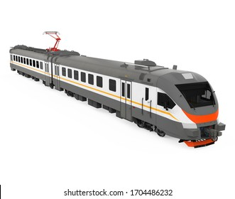 Electric Train Isolated. 3D rendering