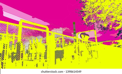 Electric transformation' plant fragment in suburbia  - illustration in psychedelic colors