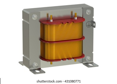 electric transformer, 3d rendering isolated on white background