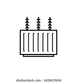 Electric transformer outline icon. Clipart image isolated on white background