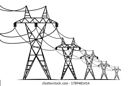 electric transmission lines - black silhouettes on white