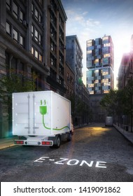 electric truck in electric cars only zone with highrise in the background 3d rendering