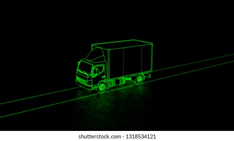 Electric truck transport aerial view line art green neon futuristic look 3d illustration