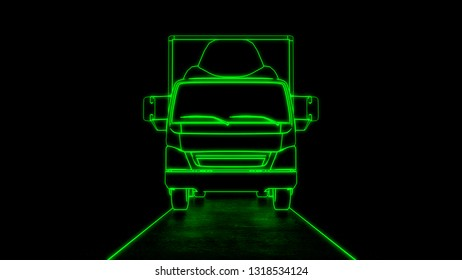 Electric truck transport front view line art green neon futuristic look 3d illustration