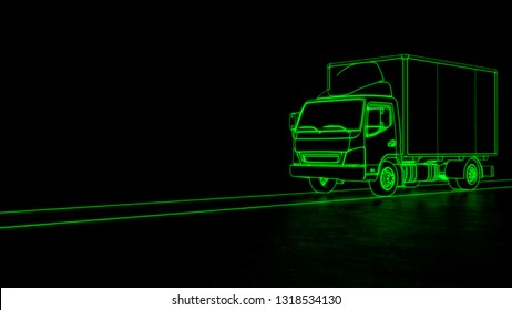 Electric truck transport line art green neon futuristic look 3d illustration