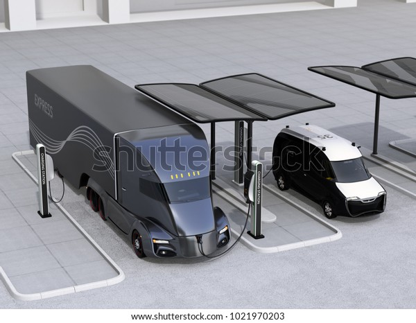 Electric truck and van charging at charging station powered by solar panel system. 3D rendering image.