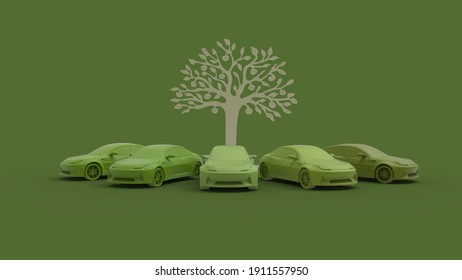 Electric vehicle cars, 3d rendering. Multiple cars lined up in a circle, isolated.