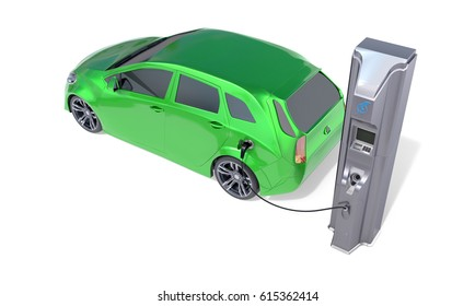 Electric Vehicle Charging Station. 3D illustration