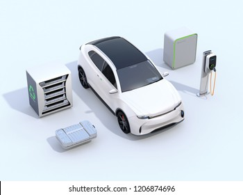 Electric vehicle, Charging station, EV battery and reused EV batteries power supply system on white background. 3D rendering image.