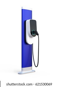 Electric vehicle charging station isolated on white background. 3D rendering image.