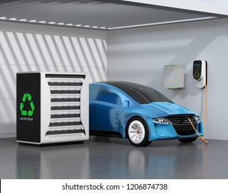 Electric vehicle recharging in garage. Charging station powered by reused EV batteries. 3D rendering image.