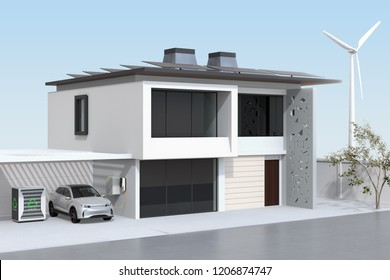 Electric vehicle recharging in garage. The smart home powered by solar panels, wind turbine and reused EV batteries. 3D rendering image.