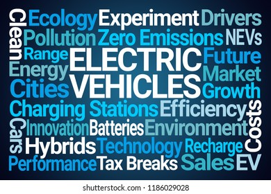 Electric Vehicles Word Cloud on Blue Background
