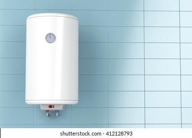 Electric water heater in the bathroom, 3D illustration