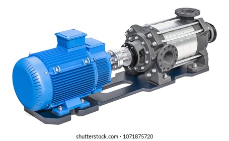 Electric water pump, horizontal multistage centrifugal pump. 3D rendering isolated on white background