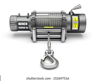 Electric winch with the hook