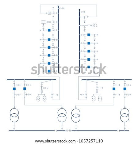 Electric Wiring Diagram Power Transformers Stock