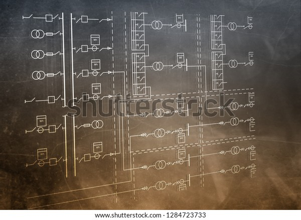 Electric Wiring Diagram Power Transformers Stockillustration ... on