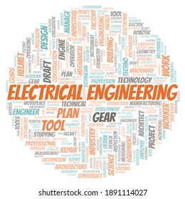 Electrical Engineering typography word cloud create with text only