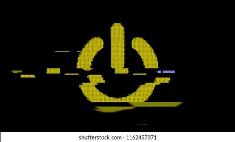 The electrical power symbol created with yellow ASCII characters. Heavy digital glitch distortion fx applied.