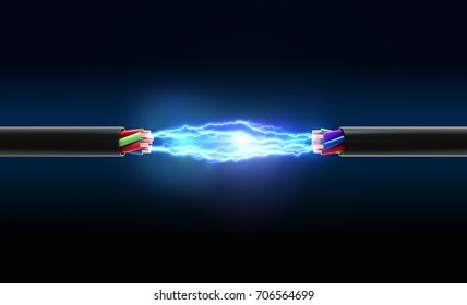 Electrical spark between two wires. 3D illustration