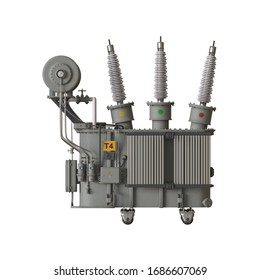 Electrical substation on a white background. Isolate. 3D rendering of excellent quality in high resolution. It can be enlarged and used as a background or texture.
