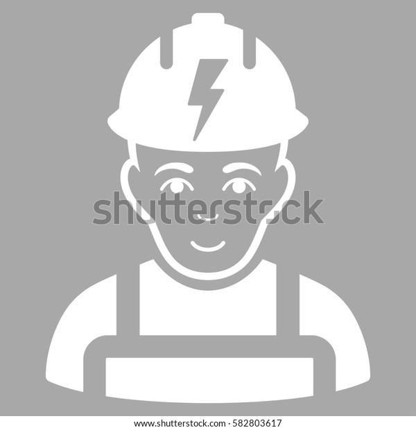 Electrician glyph icon. Flat white symbol. Pictogram is isolated on a silver background. Designed for web and software interfaces.