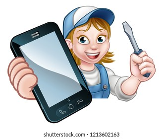An electrician or handyman holding a screwdriver and phone with copyspace