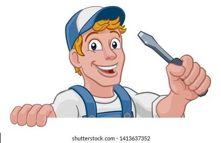 Electrician handyman man handy holding electricians screwdriver tool cartoon construction mascot. Peeking over a sign