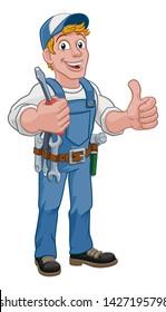 Electrician handyman man handy holding electricians screwdriver tool cartoon construction mascot. Giving a thumbs up.