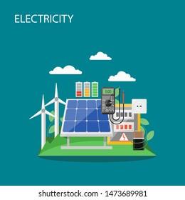 Electricity concept flat style design illustration. Windmills, solar panels, battery etc. Alternative renewable energy production and consumption composition for web banner, website page etc.