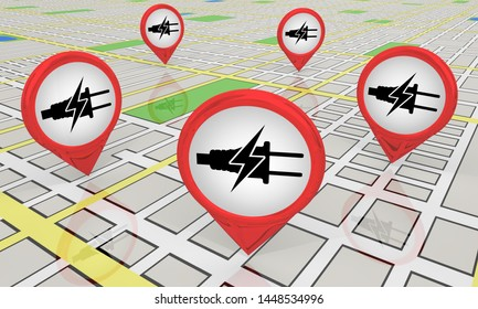 Electricity Energy Power Charging Locations Map Icons Charger Areas Spots 3d Illustration