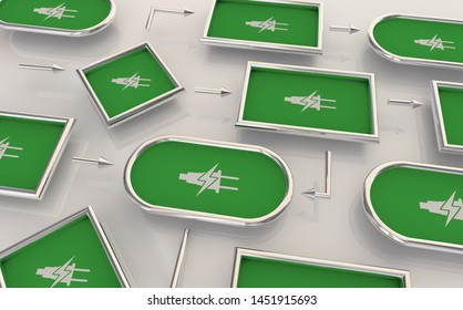 Electricity Green Energy Power Charging Network Grid Connections Process Map 3d Illustration