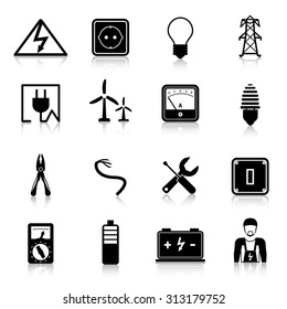 Electricity icons set with industrial power and energy equipment isolated  illustration