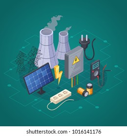 Electricity isometric composition with electric power and energy symbols  illustration