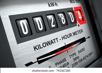 Electricity kilowatt hour meter closeup 3d