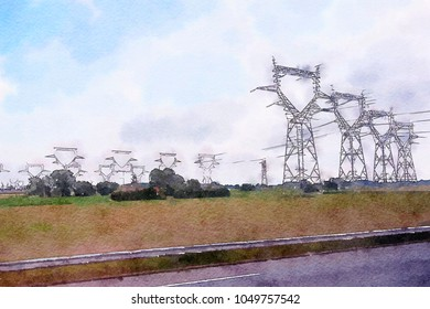 electricity and landscape, watercolor style