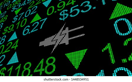 Electricity Power Energy Stock Market Utility Company Price Green Renewable 3d Illustration