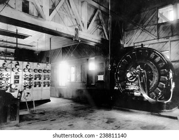 Electricty. Westinghouse AC generator. The world's first. Built by Nikola Tesla and George Westinghouse. Ames Hydroelectric Plant, Telluride, Colorado. 1895 powerhouse, photo ca. 1900