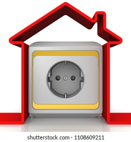 Electrification of the house. Symbol of the house with the electrical socket on the white surface. The concept of electrification of houses. 3D Illustration