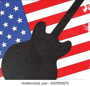 Electris guitar icon in silhouette with starts and stripes background