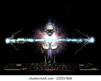 Electro Robot DJ - A robot DJ spinning CDs and mixing. Producing electric effects between his hands and behind his head.  Turntables and mixers.