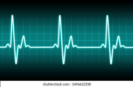 electrocardiogram heartbeat pulse heart background 3D illustration