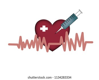 Electrocardiograph with heart. Take care your heart concept.