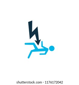 Electrocution hazard icon colored symbol. Premium quality isolated electric shock element in trendy style.