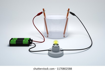 Electrolysis of water with battery and bulb on white background. Strong electrolyte burn a light bulb. 3D Render.